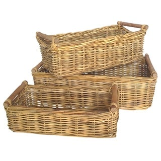 Wald Imports Rectangular Jawit Kubu Rattan Baskets (Set of 3)
