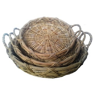 Wald Imports Round Jawit Kubu Rattan Baskets with Handles (Set of 3)