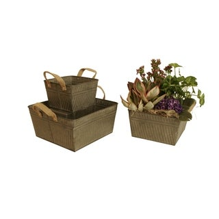Wald Imports Square Rustic Galvanized Metal Container with Burlap Handles (Set of 3)