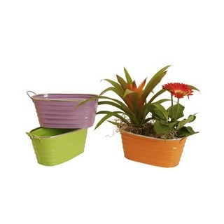 Wald Imports Assorted 9-inch Oblong Painted Metal Container (Set of 3)