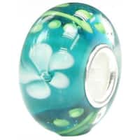 Queenberry Sterling Silver Rondelle Green Murano with Light Blue Flower Lampwork Glass European Char - n/a