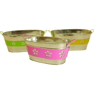Wald Imports Assorted 13-inch Oblong Metal Flower Band Containers (Set of 3)