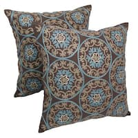Blazing Needles 20-inch Indian Floral Medallion Embroidered Throw Pillows (Set of 2)