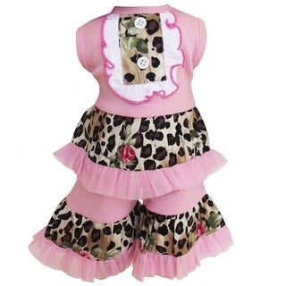 AnnLoren Boutique Pink/ leopard Tuxedo-style Tank and Capri 2-piece Doll Outfit