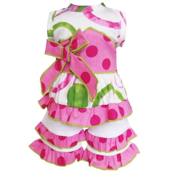 AnnLoren Pink/ green Halter 2-piece Doll Outfit
