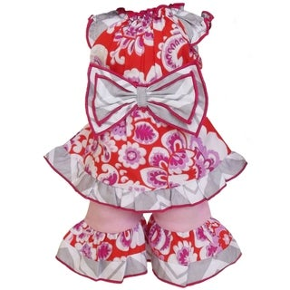AnnLoren Pink/ Orange Floral Damask Cotton Tunic and Capri 2-piece Doll Outfit