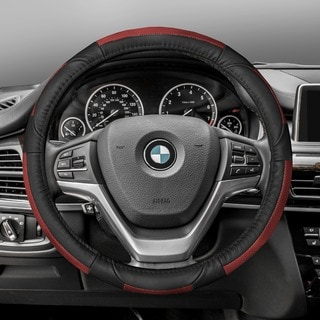FH GroupRed Black Deluxe Full Grain Authentic Leather Steering Wheel Cover