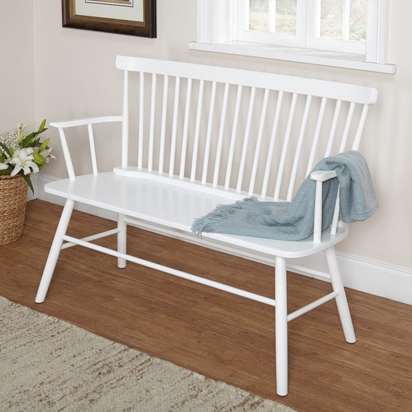 Simple Living Rubberwood White Shelby Dining Bench