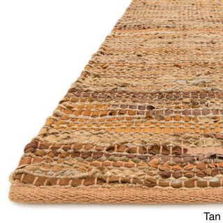 Alexander Home Arrow Handmade Earth-tone Leather and Jute Rug (7'9 x 9'9) (Option: Tan (7'9 x 9'9))