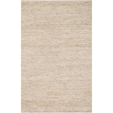 Hand-woven Arrow Earth-tone Leather and Jute Rug (3'6 x 5'6)