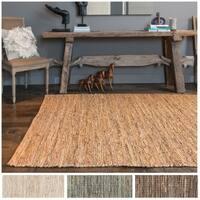 Hand-woven Arrow Earth-tone Leather and Jute Rug (2'3 x 3'9)