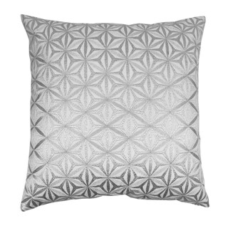 Blazing Needles 20-inch Indian Silver Diamond Mosaic Embroidered Throw Pillow