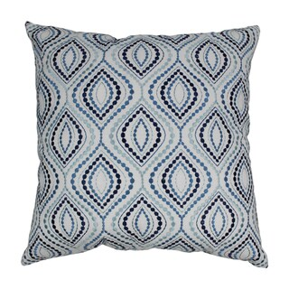 Blazing Needles 20-inch Indian Blue Palette Ogee Embroidered Throw Pillow