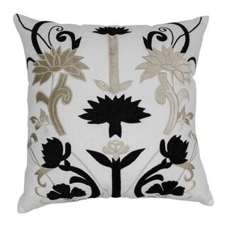 Blazing Needles 20-inch Indian Floral Elegance Velvet Applique Throw Pillow