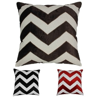 Blazing Needles 20-inch Indian Chevron Velvet Applique Throw Pillow
