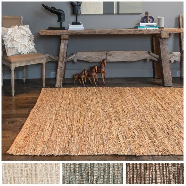 Hand-woven Earth-tone Leather and Jute Rug - 9'3 x 13'