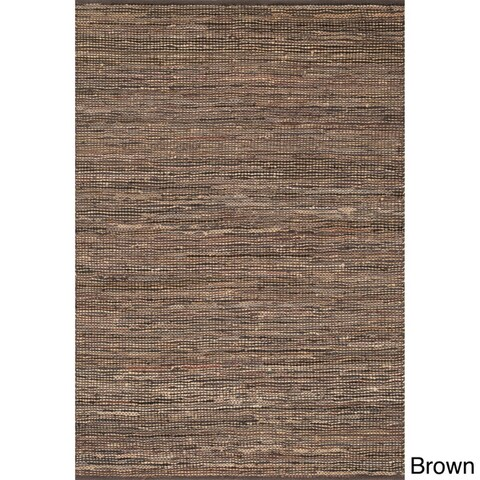 Hand-woven Arrow Earth-tone Leather and Jute Rug (5'0 x 7'6)