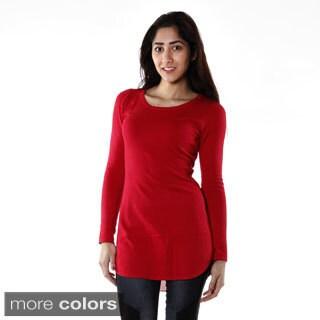 Hadari Women's Contemporary Solid Scoop Neck Tunic Sweater