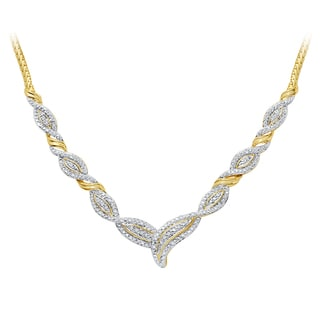 Divina Gold over Brass 1/4ct TDW Two-Tone Diamond Necklace