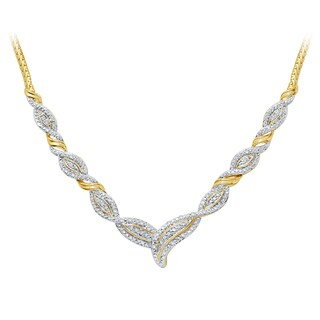 Divina Gold over Brass 1/4ct TDW Two-Tone Diamond Necklace - White - n/a