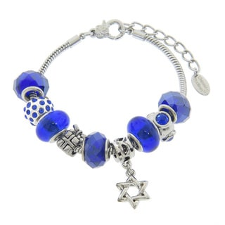 Eternally Haute Star of David Blue Murano Style Glass and Crystal Charm Bracelet