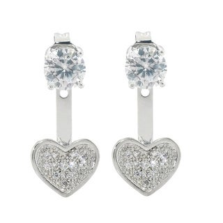 Eternally Haute 2ct TGW Pave Heart Front to Back Earrings