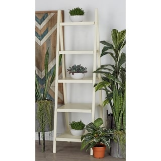 Wood Leaning White Shelf