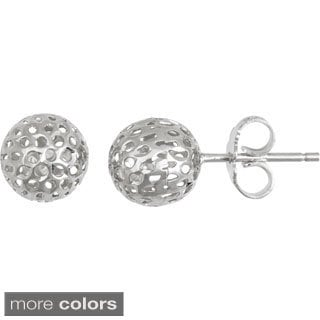 Decadence Sterling Silver Italian Filigree Ball Stud Earrings