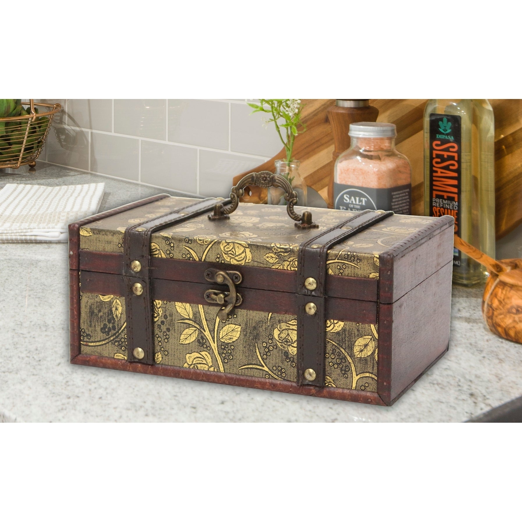 Picture of: Shop Decorative Leather Treasure Trunk Box Overstock 9721238