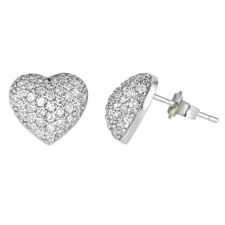 Decadence Sterling Silver Heart Micropave Stud Earring with Cubic Zirconia