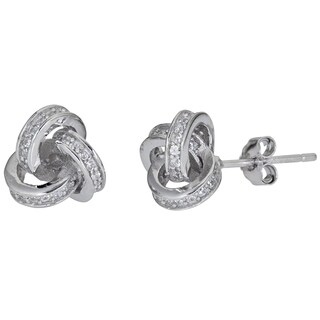 Decadence Sterling Silver Love Knot Micropave Stud Earrings with Cubic Zirconia