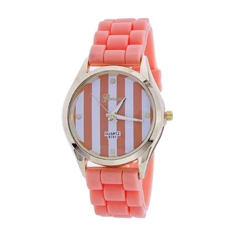 Geneva Platinum Women's Striped Silicone Watch