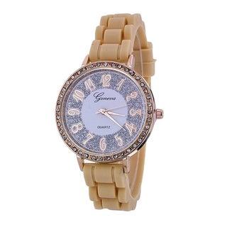 Geneva Platinum Women's Silicone Rhinestone Accent Watch