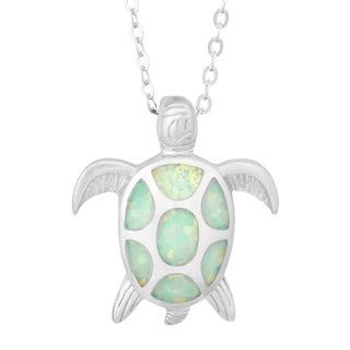 La Preciosa Sterling Silver White Opal Turtle Necklace