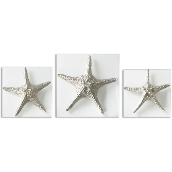 Wall Art Set Of 3 uttermost silver starfish wall art (set of 3) - free shipping