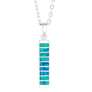 La Preciosa Sterling Silver Blue Opal Rectangular Necklace