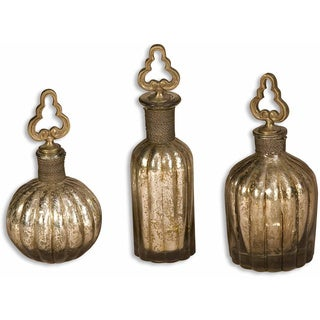 Uttermost Kaho Antique Silver Perfume Bottles (Set of 3)