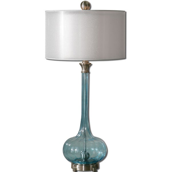 uttermost junelle 1 light blue glass table lamp free shipping today. Black Bedroom Furniture Sets. Home Design Ideas