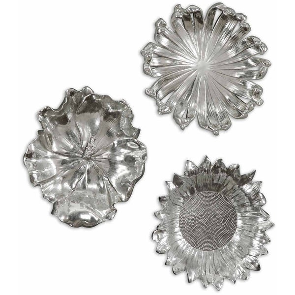 Uttermost Silver Flowers Wall Art (Set Of 3)