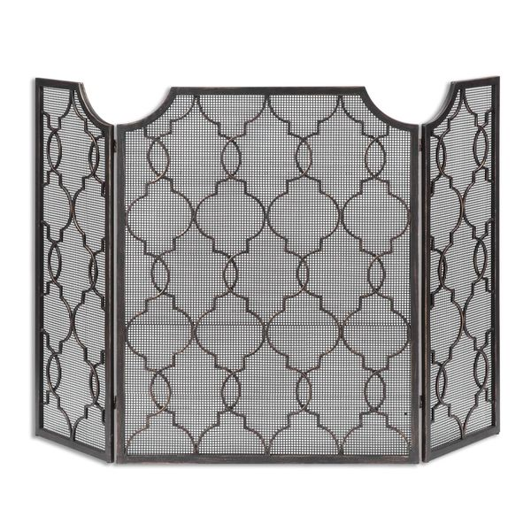 single in screen mantles quatrefoil with backing fireplace mesh panel pin mirror silver no screens