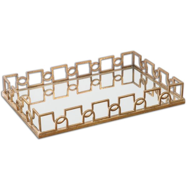 Coffee Table Tray Home Goods: Shop Uttermost Nicoline Brass Mirrored Tray