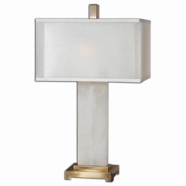 Uttermost Athanas 2-Light White Alabaster Table Lamp