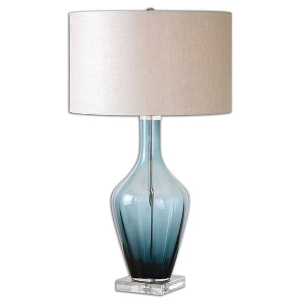 Uttermost Hagano 1-light Azure Blue Glass Table Lamp