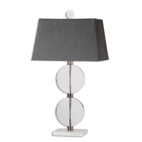 Uttermost Telesino 1-light Crystal Disk Table Lamp