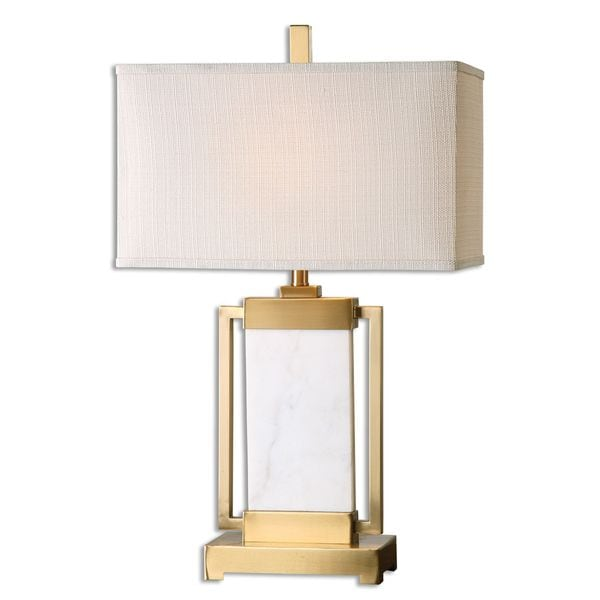 Uttermost Marnett 1-light Marble and Brushed Brass Table Lamp