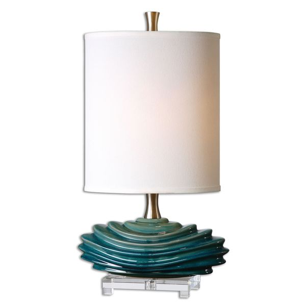 Shop Uttermost Talucah Teal Blue Ceramic Table Lamp Free Shipping