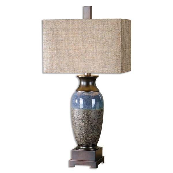 Uttermost Antonito Textured Stone Bronze Table Lamp