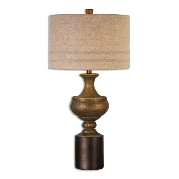 Uttermost Guiliano 1-light Antiqued Gold Leaf Table Lamp