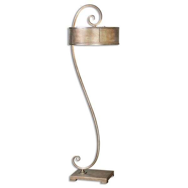 Uttermost Dalou 2-light Antiqued Silver Champagne Scroll Floor Lamp