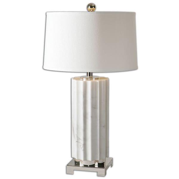 Uttermost Castorano 1-light White Marble Table Lamp
